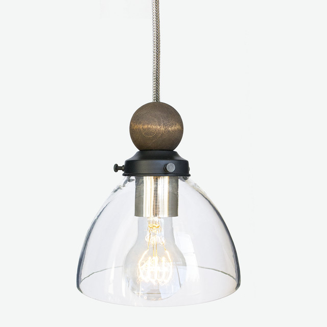 Handblown Glass and Wood Stainless Steel Cord Pendant ...