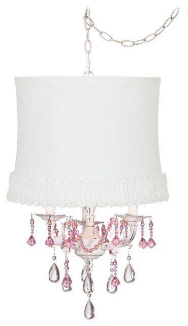 Traditional Pretty in Pink Designer White Swag Shaded Chandelier traditional-lamp-shades
