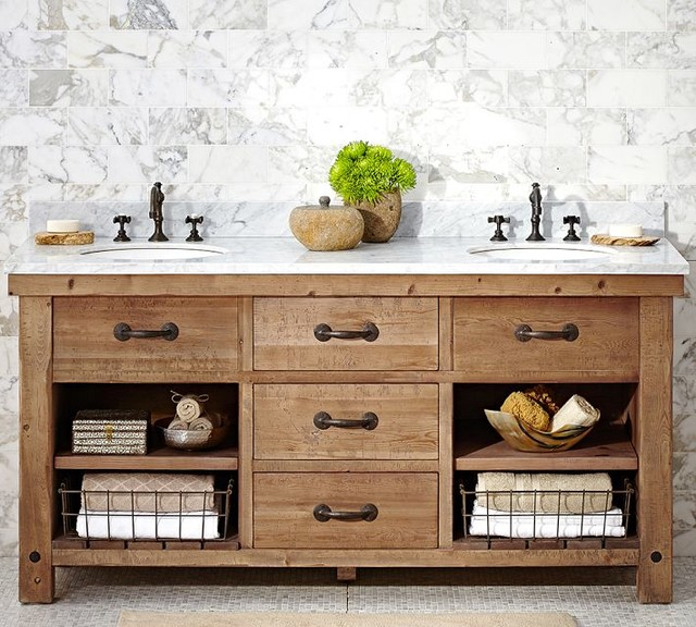 Benchwright Double Sink Console Wax Pine Finish Farmhouse Bathroom Vanit