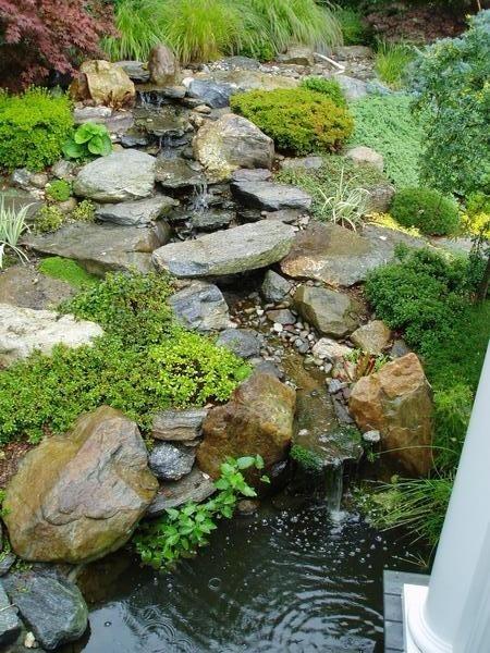 Backyard Garden Waterfalls Traditional Landscape