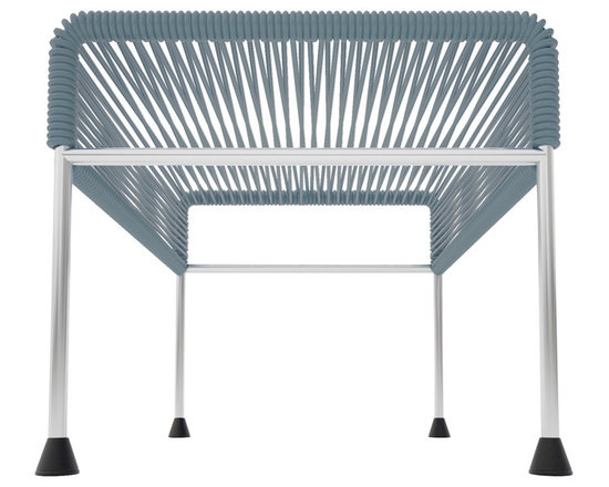 Adam Ottoman, Chrome Frame With Grey Weave - Sleek woven vinyl makes this coffee table stand out from the crowd. It's a great option for indoor and outdoor entertaining since the vinyl is UV protected and the metal base is galvanized. The only challenge would be deciding on your favorite color top to pair with the sleek chrome base.