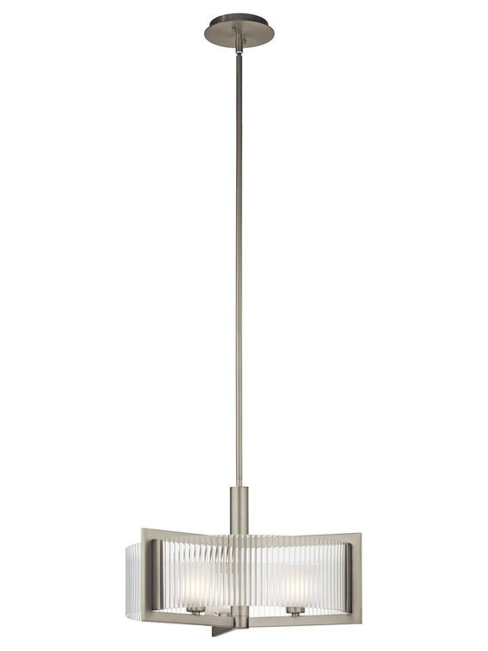 Kichler Lighting - Brushed Nickel Rigate 3 Light Semi-Flush Indoor Ceiling Fixture - Kichler 43147NI Rigate Convertible Pendant / Semi Flush Ceiling Light This 3 light halogen semi flush from the Rigate collection pays homage to the clean layers and linear forms found throughout modern architecture. The light, Brushed Nickel finish will highlight any space, yet the real showstopper is the glass detailing. Inner Satin Etched Glass cubes filter the light while outer Ribbed Clear Glass gives this design definition and form.