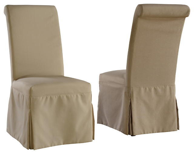 com parsons chair with beige tan and gray slipcovers set of 2 chairs