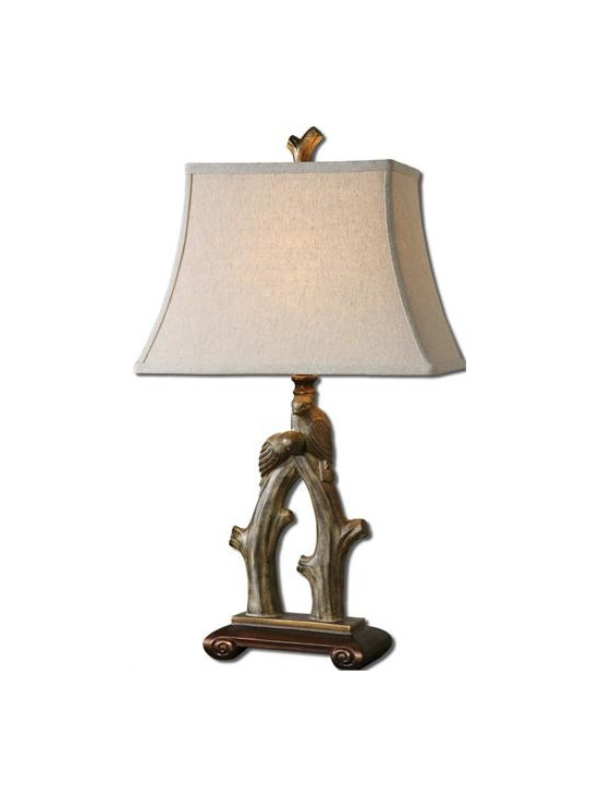 Uttermost Delena - Heavily burnished sand stone finish with antiqued golden bronze details. The rectangle bell shade is a light khaki linen fabric