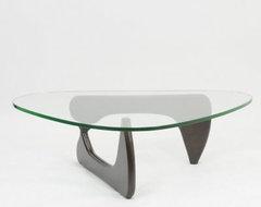 Modway Triangle Dark Walnut Wood Glass Top Coffee Table modern-coffee-tables
