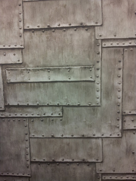 Wallcoverng that can Give you some Punch! - A very cool faux metal look for an accent wall