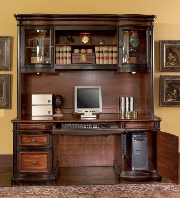 Black Cherry Traditional Desk With Hutch Modern
