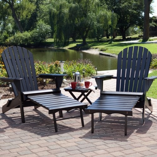 Grand Daddy Oversized Adirondack Chair Set with FREE Side Table - Black traditional outdoor chairs