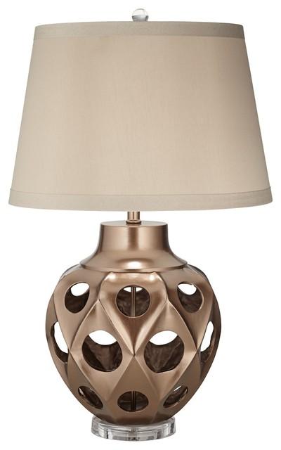 Possini Euro Design Carved Urn Copper Table Lamp mediterranean-table-lamps