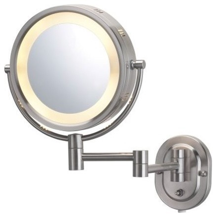 wall mount halo lighted mirror in nickel traditional makeup mirrors. Black Bedroom Furniture Sets. Home Design Ideas