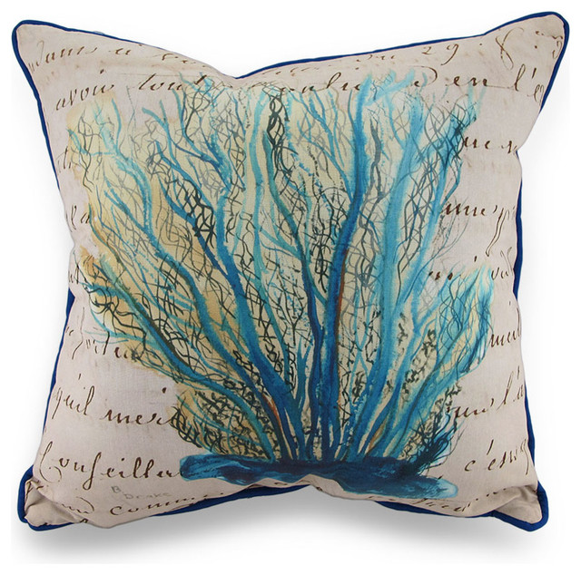 Beach Style Outdoor Cushions : Betsy Drake Blue Coral Print Beige Indoor/Outdoor Throw Pillow - Beach Style - Outdoor Cushions ...
