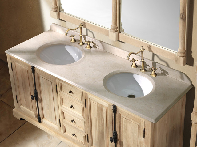 "71"" Antique Chic Double Bath Vanity - Natural Oak traditional-bathroom-vanities-and-sink-consoles"