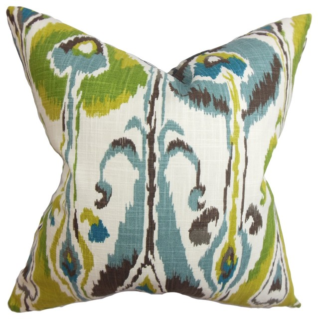 Gudrun Ikat Pillow Blue Green 18