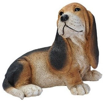 Black and Brown Basset Puppy Dog Statue modern-garden-statues-and-yard-art