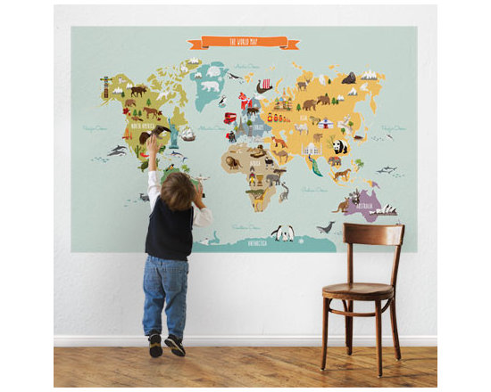 World Map Decal - World Map Peel and Stick. Let your children discover the world with our Peel & Stick World Map. Notable animals and landmarks are represented on each of the continents.