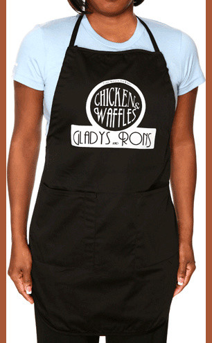 Gladys Knight's Chicken and Wafles Black Apron aprons