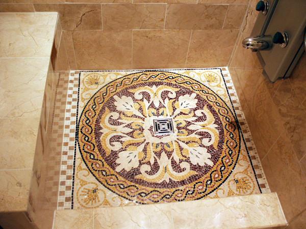 Custom Designed and Handcrafted Marble Mosaic Artwork Tiles mediterranean-bathroom