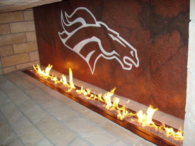 Custom Fireplace at Invesco Field at Mile High modern