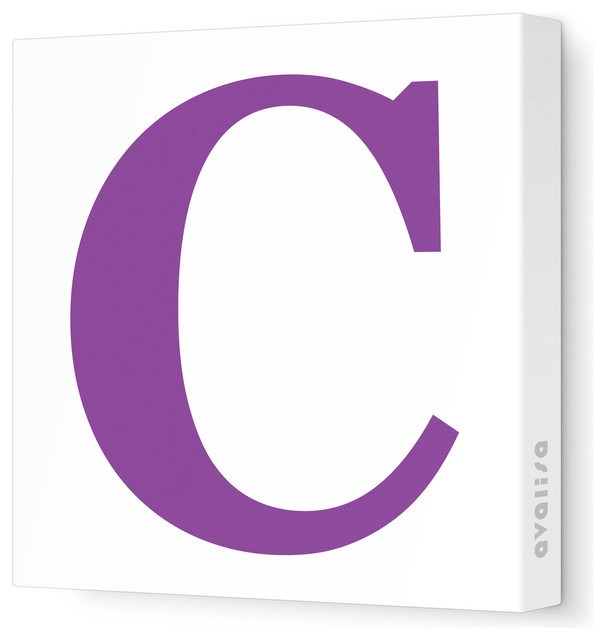"Letter - Upper Case 'C' Stretched Wall Art, Purple, 12"" x ..."