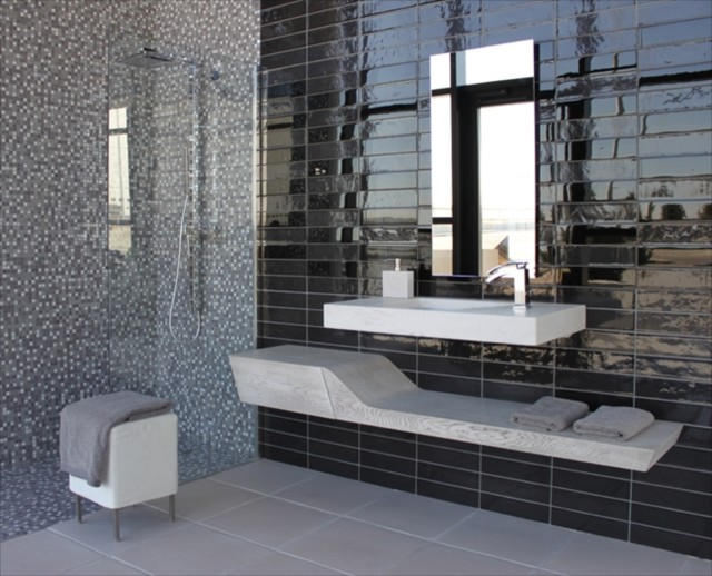 Porcelanosa urban black 3x12 modern tile san for Contemporary bathroom tile designs