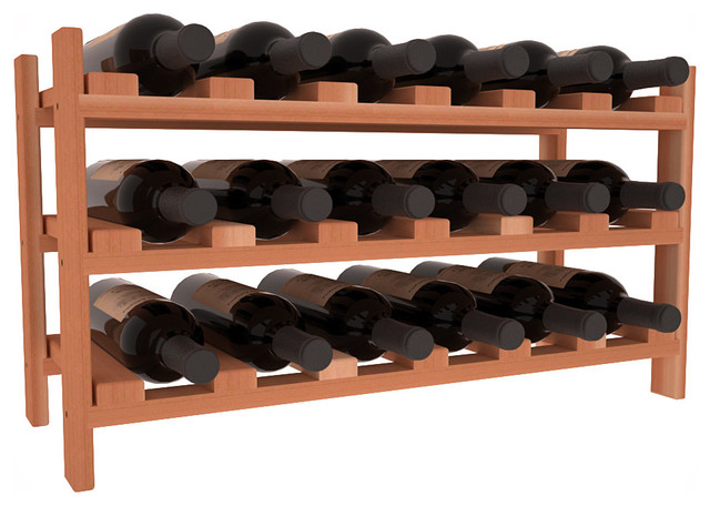 18 Bottle Stackable Wine Rack in Redwood, (Unstained) contemporary-wine-racks