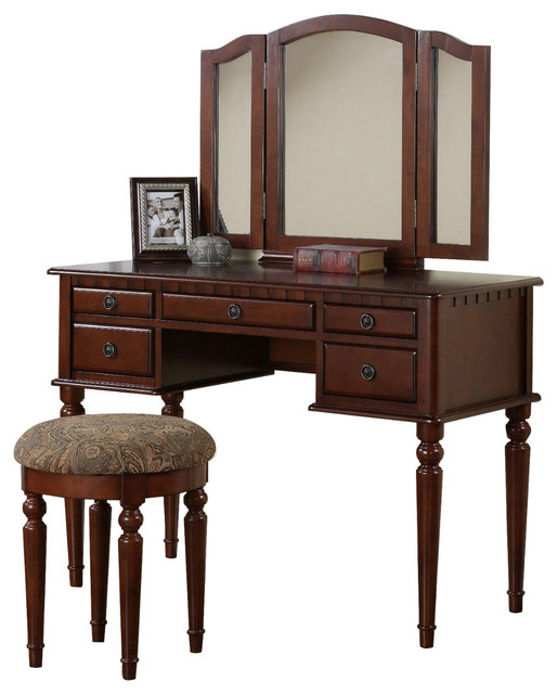 Vanity Lights Cyber Monday : Tri Folding Mirror Make Up Table Vanity Set Wood w/ Stool 5 Drawers, Cherry - Traditional ...