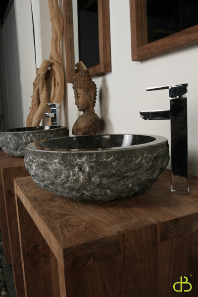 Hand Carved Granite Washbasin Tropical Bathroom Sinks