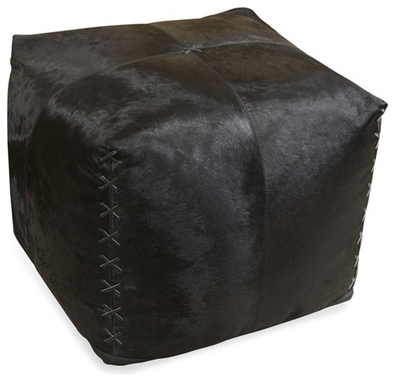 Black Cowhide Pouf contemporary-footstools-and-ottomans