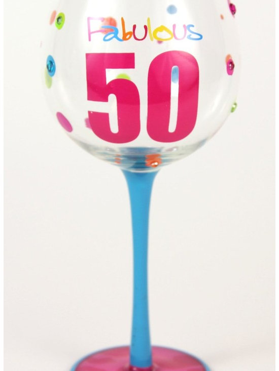 Hand Painted Milestone Fabulous 50th Birthday Wine Glass, Holds 18 Oz - In A Gif - Hand Painted Milestone Glasses will make your birthday celebration special and chic !