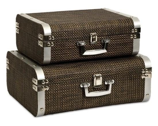 """IMAX CORPORATION - Curry Storage Suitcases with Stainless Steel Trim - Set of 2 - This set of two classic and sophisticated storage cases is covered in a woven chocolate toned cover and features stainless steel trim. Set of 2 in various sizes measuring around 27""""L x 17.75""""W x 14.75""""H each. Shop home furnishings, decor, and accessories from Posh Urban Furnishings. Beautiful, stylish furniture and decor that will brighten your home instantly. Shop modern, traditional, vintage, and world designs."""