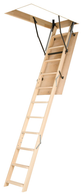 LWN (OLN) 25 x 47 Wooden Basic Attic Ladder 250 lbs modern-ladders-and-step-stools