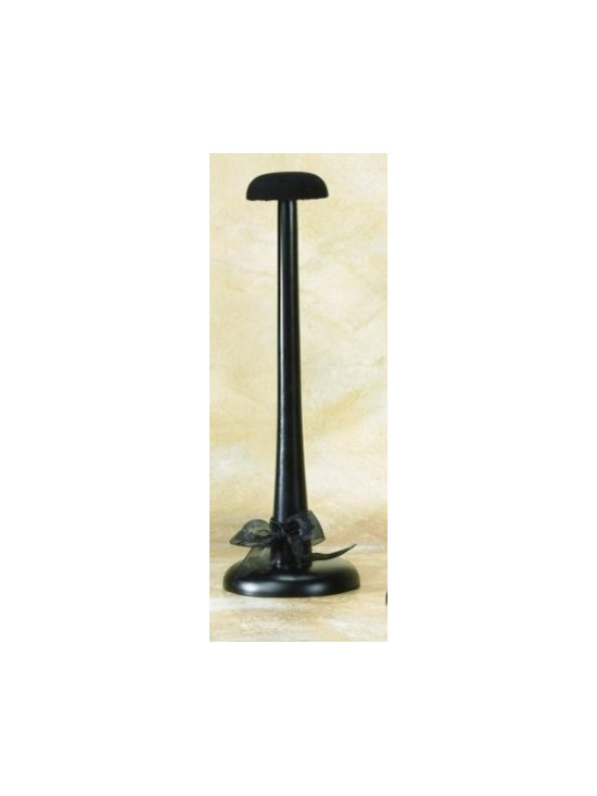 Large Black Wooden Hat Stand with Velour Top -