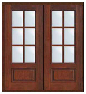 Prehung French Double Door 80 Fiberglass 3 4 Lite 6 Lite