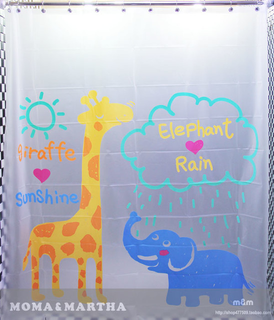 cute giraffes and elephants eva shower curtain mm2053
