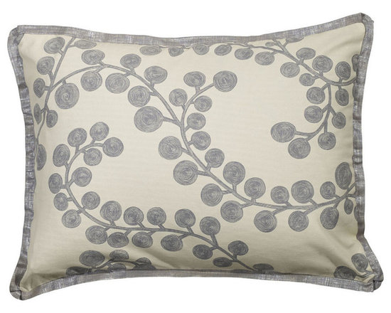 """Mystic Valley Traders Radiance Steel - Standard Sham - The Radiance Steel sham is fashioned from the Bough Blue fabric on each side, and finished with a Glimmer Steel flower flange; sold flat (without fills); standard 20""""x26""""."""