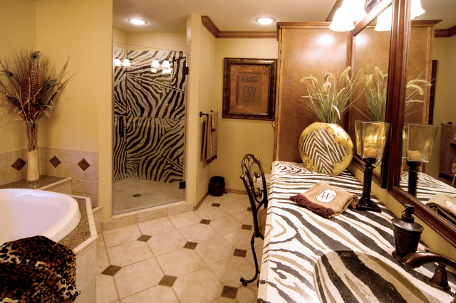 African bathroom with zebra countertop eclectic for Animal bathroom decor