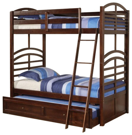 kevin espresso finish wood twin over twin bunk bed set with pull out trundle contemporary. Black Bedroom Furniture Sets. Home Design Ideas