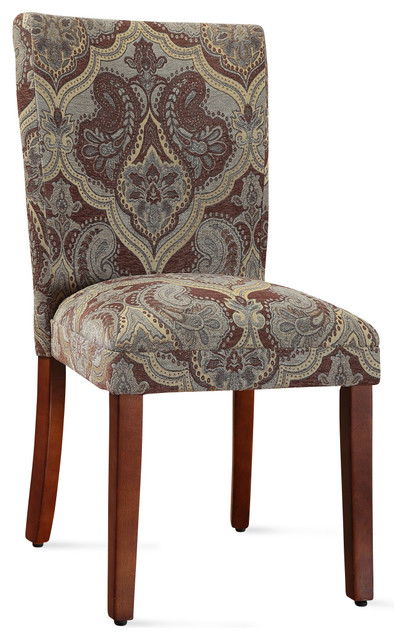 Blue and Brown Paisley Parson Chairs (Set of 2) traditional-chairs
