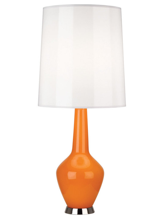 Robert Abbey - Jonathan Adler Capri Bottle Blue Table Lamp, Orange - Jonathan Adler's Capri Collection for Robert Abbey features a hand-blown milk glass interior and a bold blue, grey, orange, or white colored outer-later with a gloss parchment shade. Note, due to the nifty hand-blown nature of the glass, there can be subtle differences from lamp to lamp, but dig it!