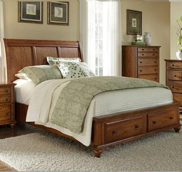 Broyhill Furniture Hayden Place Queen Storage Sleigh Bed In Golden Oak 4645 Traditional