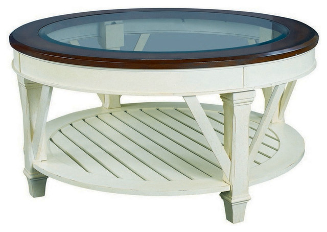 Hammary Promenade Round Glass Top Cocktail Table Traditional Coffee Tables By Beyond Stores