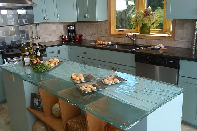 Glass Eating Counter featured on DIY Network contemporary kitchen