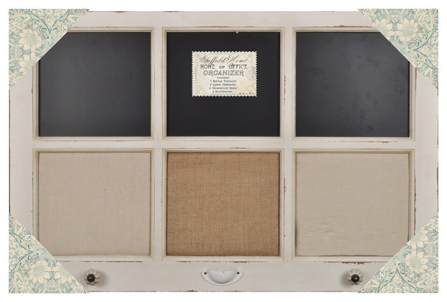 "Burlap, Chalk & Linen Framed Wall Organizer with Knobs 34""x22""(Distressed White) farmhouse-bulletin-boards-and-chalkboards"