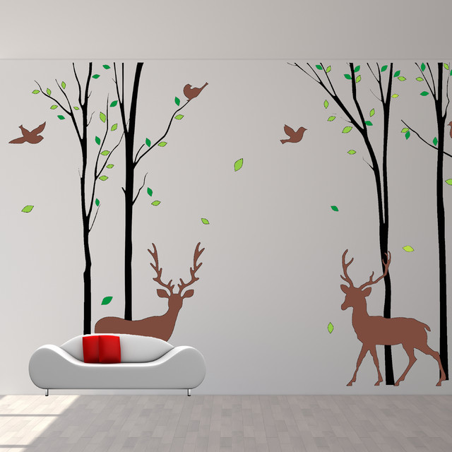 nature wall decals for kids rooms : wall decals birds deer wall sticker  forest nature design