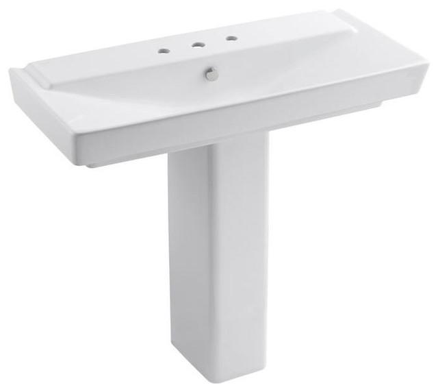 KOHLER Bathroom Reve Pedestal Bathroom Sink Combo in White K-5149-8-0 ...
