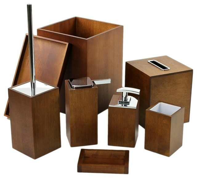 Complete bathroom accessory set by gedy contemporary for Accessoire salle de bain en bois