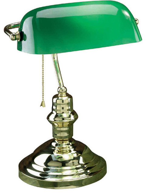 banker 39 s lamp antique brass with green glass shade type. Black Bedroom Furniture Sets. Home Design Ideas