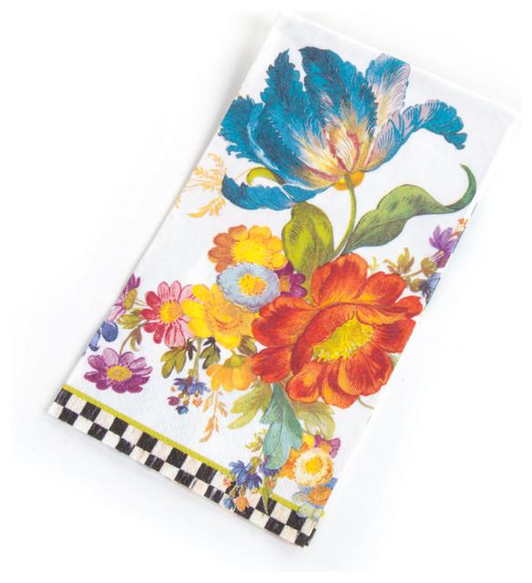 Flower Market Paper Napkins - Guest - White | MacKenzie-Childs eclectic-napkins
