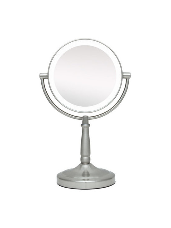 """Zadro - Dual Sided LED Vanity Mirror - The LED Lighted Vanity Mirror features a dual-sided, premium quality mirror with two magnifications. On one side, a 10x magnification mirror allows you to see up-close and in detail, allowing for easy make-up application. The other side features a normal, 1x magnification mirror that is great for checking hair and make-up. The vanity mirror lights up with energy-saving LED bulbs that illuminate your entire face, allowing you to see the finest details in even the dimmest lighting, and its cordless design allows you to place it anywhere! The LED Lighted Vanity Mirror is available in an elegant Satin Nickel finish. Features: -Finish: Satin nickel. -Cordless, so you can take it anywhere. -Energy saving LED lighting consumes up to 70% less electricity than regular bulbs. -Dual sided 10X and 1X magnification. -On / off switch on base. -Eco-Friendly LED Bulbs Never Need Replacing -360 Degree swivel mirror. -Uses 4 AA batteries. Specifications: -Mirror surface dimensions: 5.75"""" Diameter -Overall dimensions: 14"""" Height x 9"""" Width x 5.5"""" Depth..."""