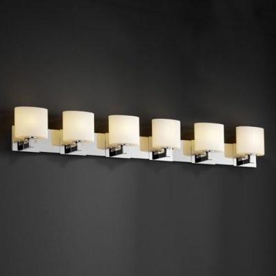 Justice Design Group Fusion FSN-8926-30-OPAL-CROM Modular 6-Light Bath Bar - Pol modern-bathroom-vanity-lighting